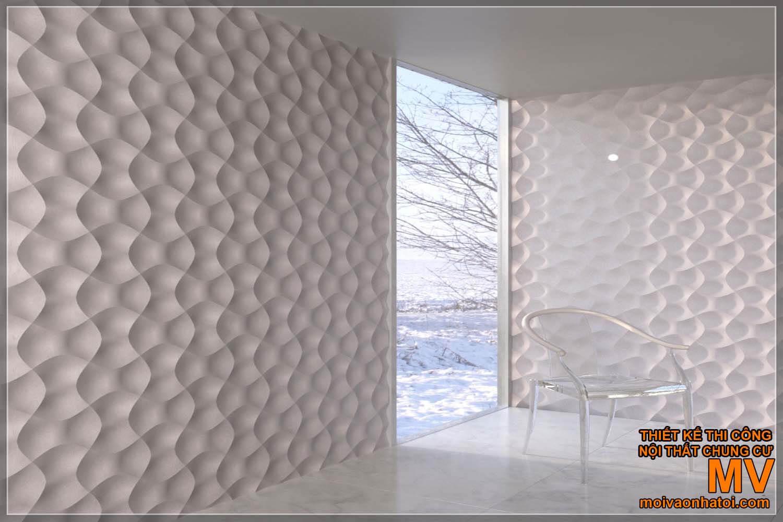 Mẫu tấm ốp tường 3D màu trắng với hình dáng độc đáo.