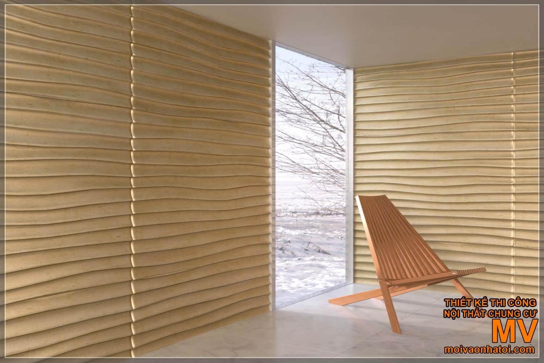 Mẫu tấm ốp tường ốp 3D mạ vàng trông rất đẳng cấp,sang trọng.