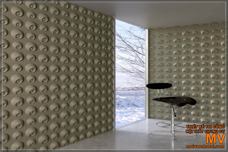 Tấm ốp tường 3D với những hoa văn in nổi rất thu hút.