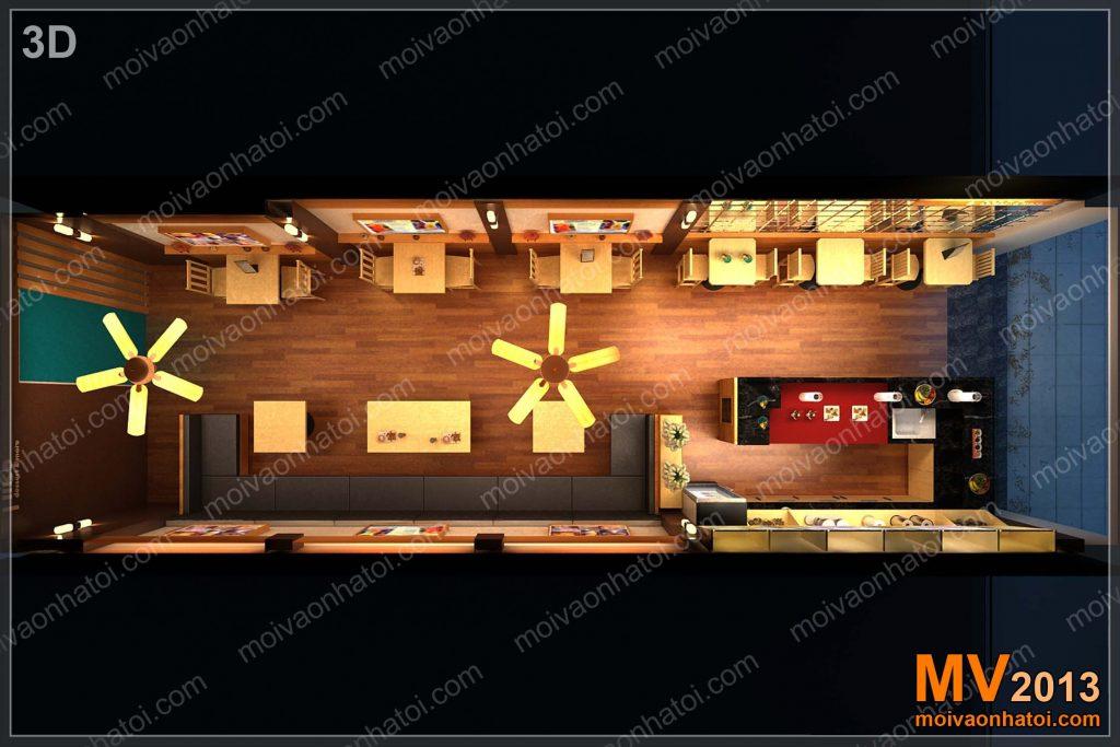 Intérieur du restaurant de restauration rapide
