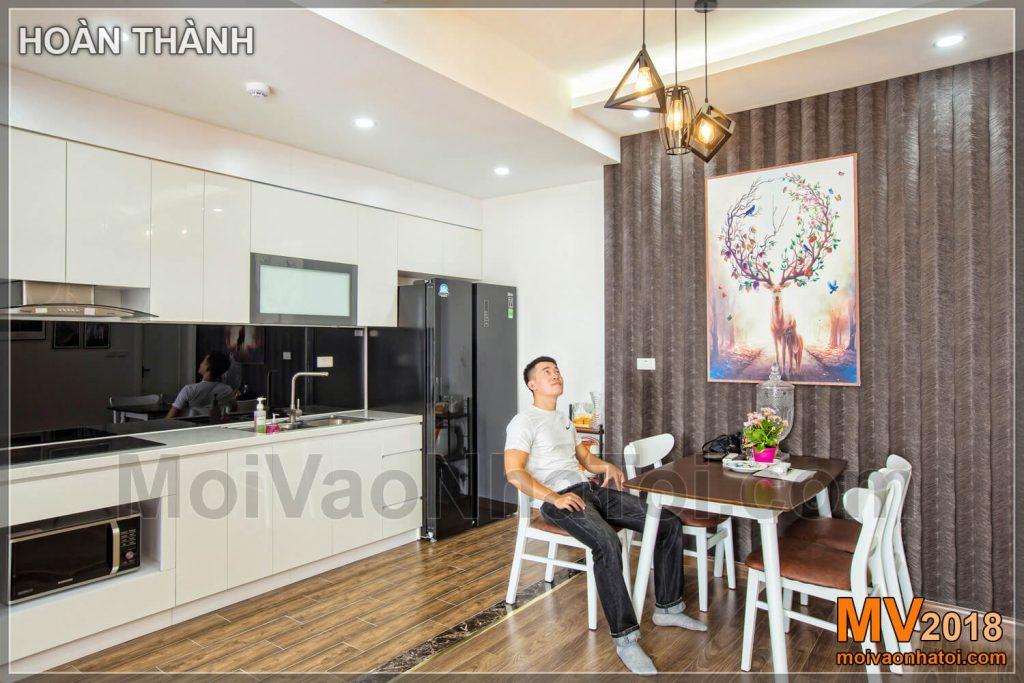 Thiết kế phòng bếp chung cư phong cách Hàn Quốc