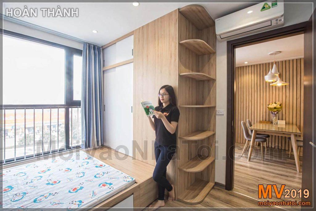 Thiết kế nội thất chung cư phong cách Nhật sử dụng gỗ tự nhiên