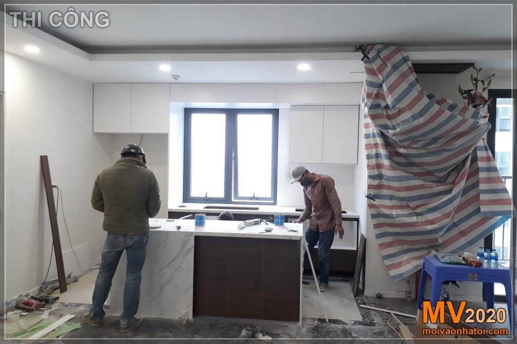 Construction process of Imperia Sky Garden apartment interior kitchen
