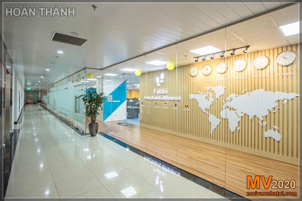 Fundo do escritório corporativo de parede logotipo