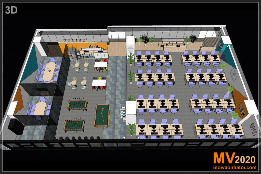 3D perspective view of corporate office furniture