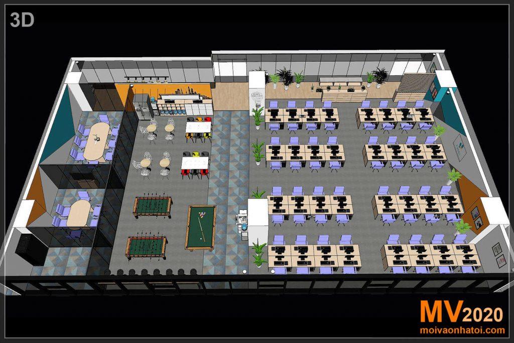 Vista em perspectiva 3D de mobiliário de escritório corporativo