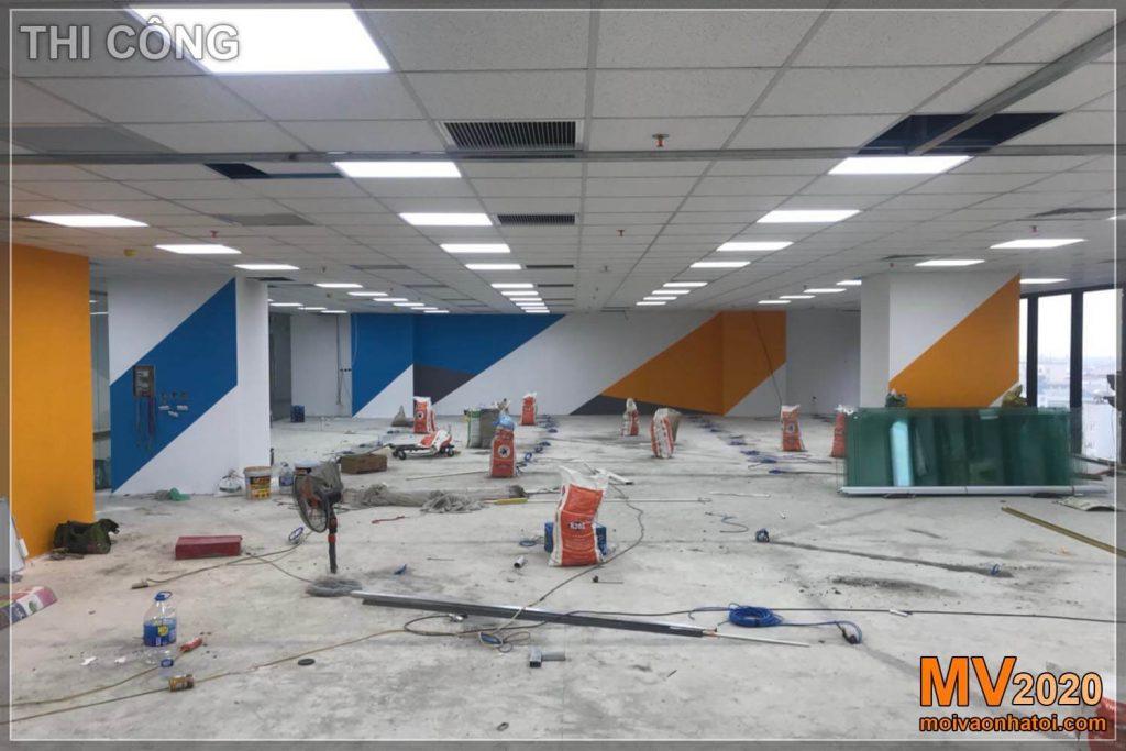 Construção de rede elétrica para afundar o escritório da empresa