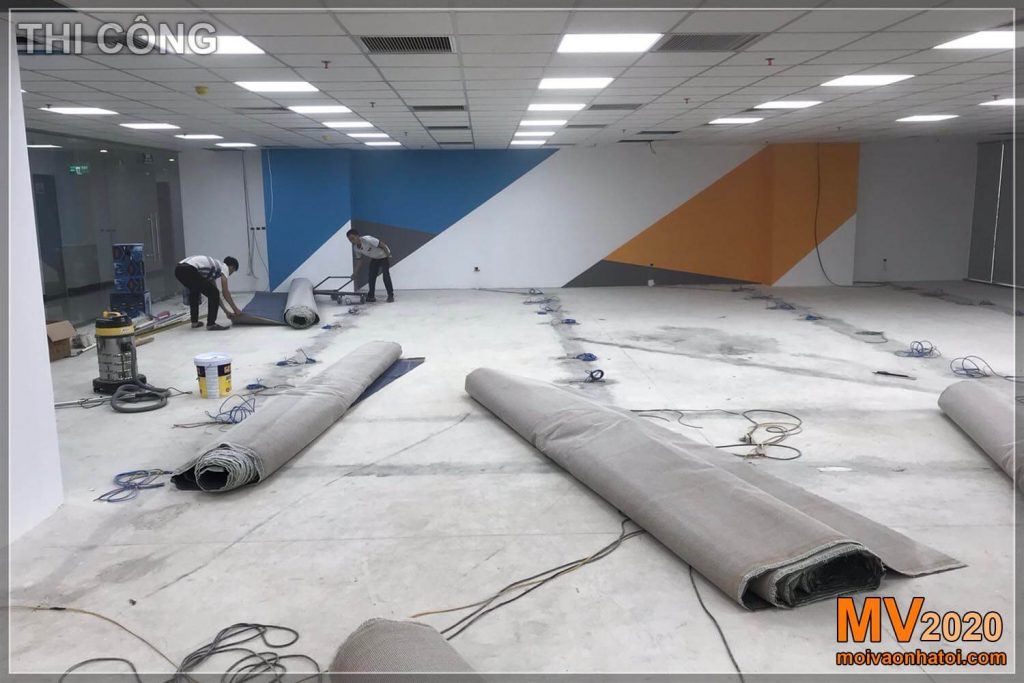 Construction of company office floor carpets