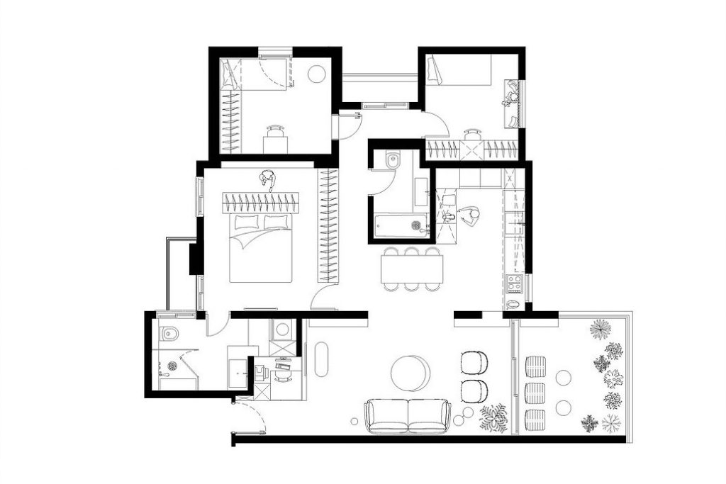 Bản vẽ thiết kế của căn hộ mang phong cách hiện đại tại Israel