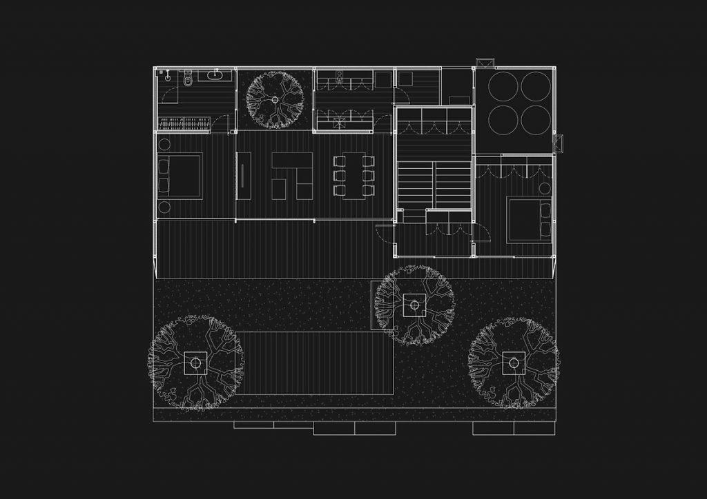 Bản vẽ thiết kế của căn hộ penthouse được bao phủ bởi gỗ lim.