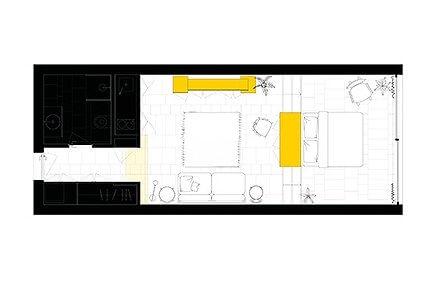 Bản vẽ thiết kế của căn hộ studio tại Bồ Đào Nha