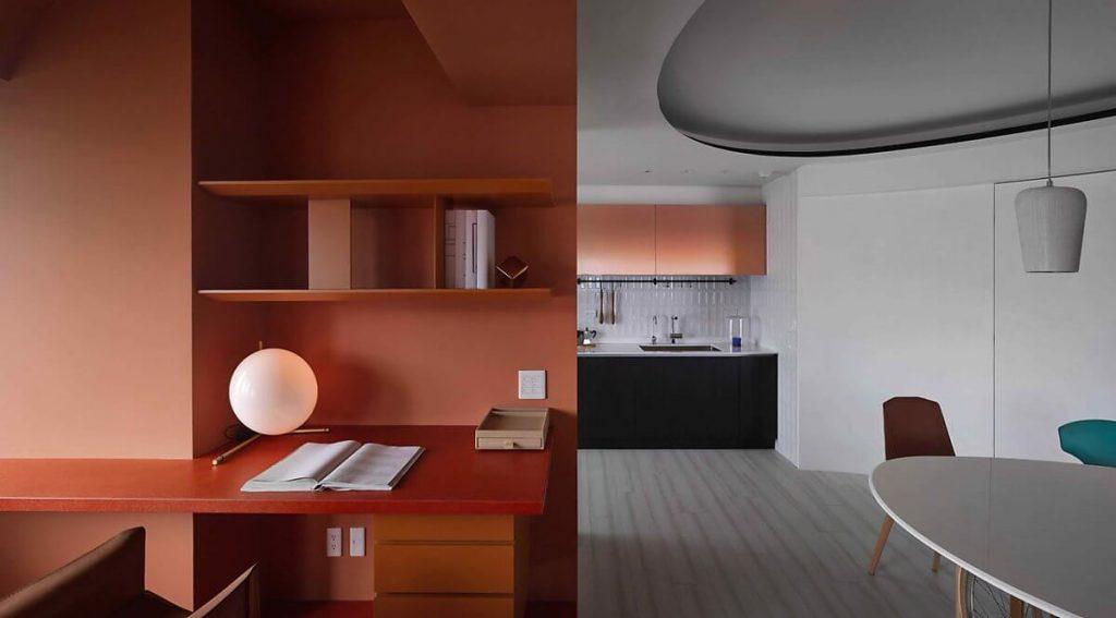 Góc làm việc nổi bật với phong cách retro trong tông màu cam đất