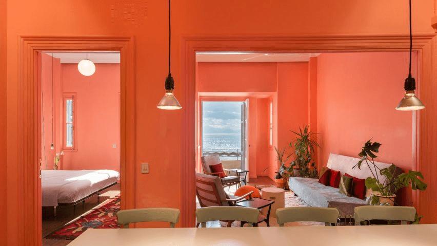 Cách phối màu phòng khách, phòng bếp, và phòng ngủ trong cùng tông màu cam
