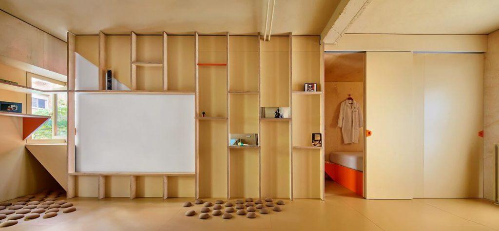 Tổng thể nội thất được làm bằng gỗ công nghiệp đơn giản