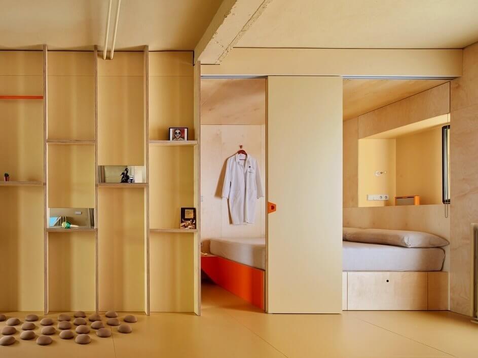 Phòng ngủ thông minh trong khối nội thất tích hợp