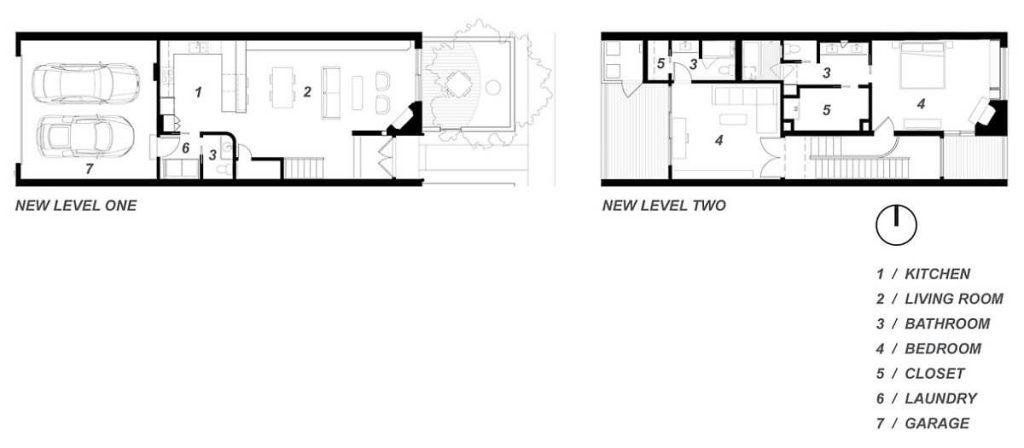 Bản vẽ thiết kế của căn nhà 2 tầng mang phong cách minimalism
