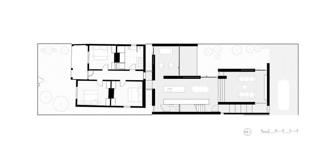 Bản vẽ thiết kế tầng 1 của căn hộ được trang trí bởi gạch ốp tường