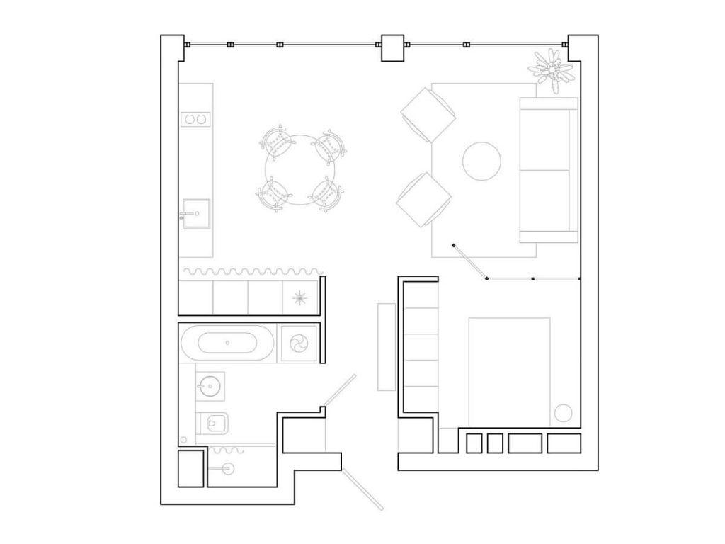 bản thiết kế của căn nhà nhỏ mang phong cách tối giản