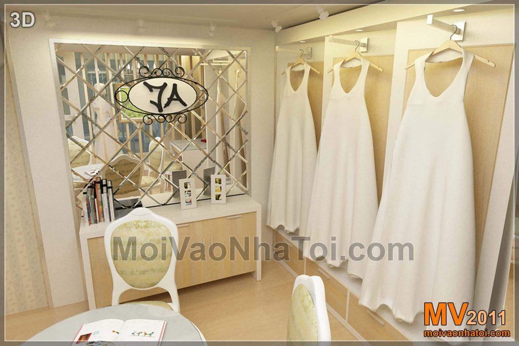 Negozio del vestito da sposa dallo studio di progettazione di prospettiva 3d