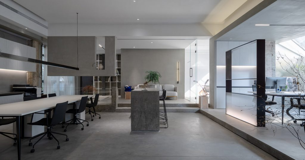 office furniture and plaster ceiling, ceiling light