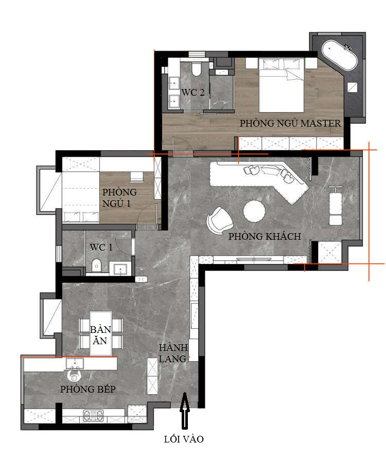 mặt bằng kiến trúc căn hộ chung cư có nhà tắm đẹp không gian mở