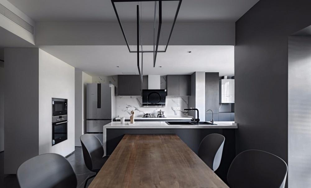 góc nhìn phòng ăn và phòng bếp với thiết kế mở