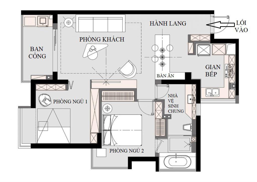 Mặt bằng kiến trúc sau khi cải tạo chung cư cũ có 2 phòng ngủ, 1 nhà vệ sinh chung, 1 phòng khách thông với phòng ăn và 1 gian bếp.