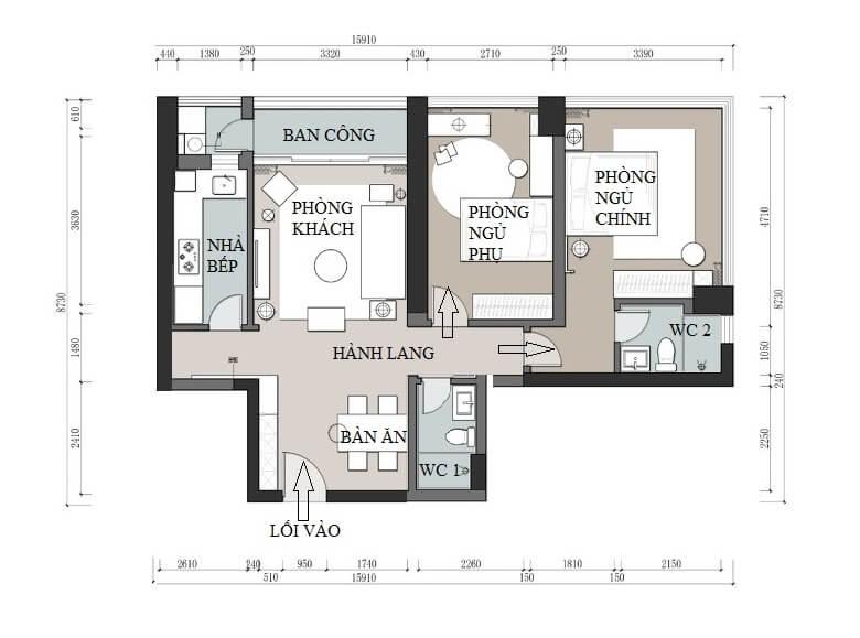 Mặt bằng kiến trúc, sau khi được cải tạo nội thất chung cư có 2 phòng ngủ, 1 phòng khách thiết kế thông với phòng ăn, 1 nhà bếp riêng biệt và 2 nhà vệ sinh.