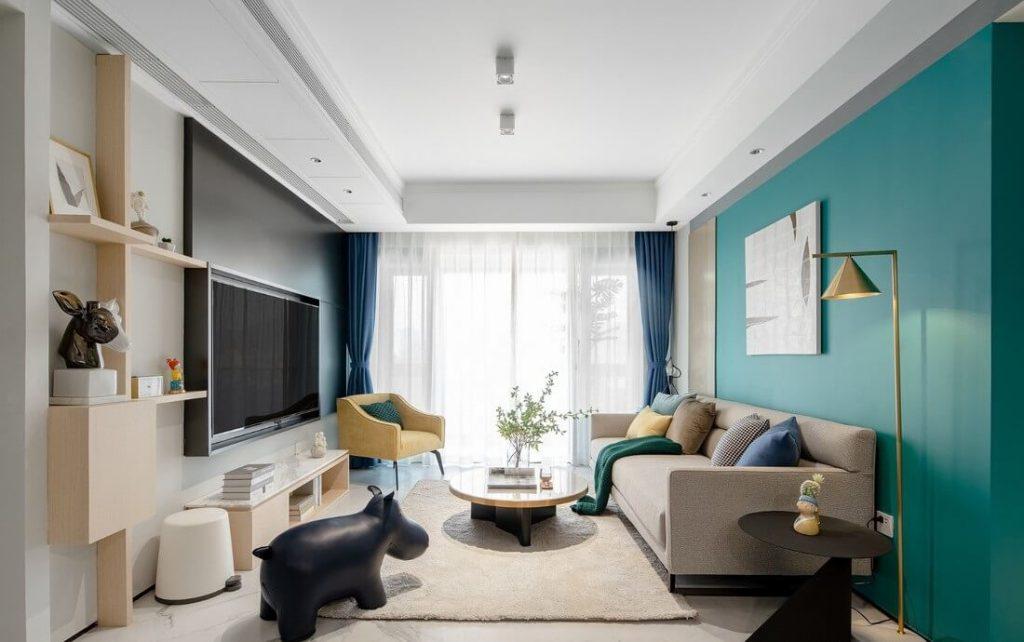 Góc nhìn tổng quan phòng khách rộng rãi và mát mẻ - cải tạo nội thất chung cư