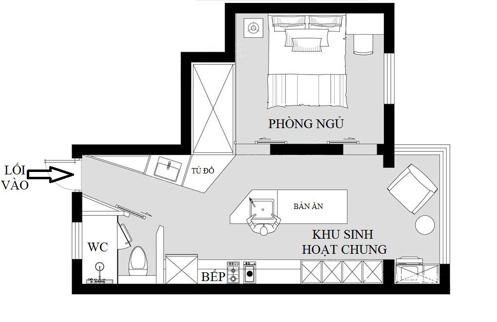 mặt bằng kiến trúc căn hộ studio diện tích nhỏ