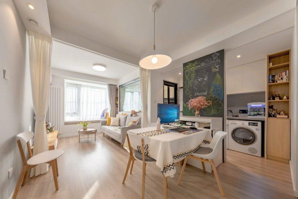 Góc nhìn tổng quan khu vực sinh hoạt chung của căn hộ - nội thất chung cư mini