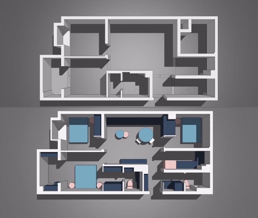 Mặt bằng kiến trúc căn hộ thiết kế nội thất chung cư nhỏ