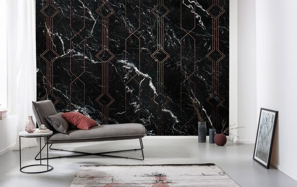Stylized black marble wall