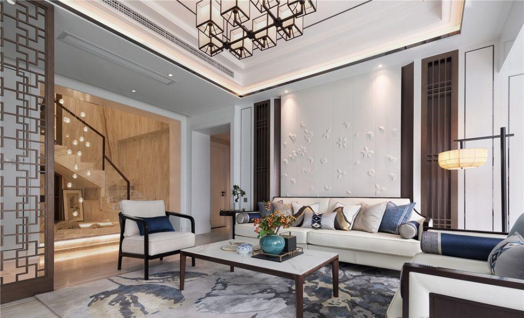 Phòng khách có bộ sofa, đèn trần đẹp, trần thạch cao và điều hòa âm trần - nội thất phòng khách đẹp
