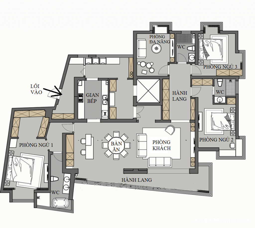 disegno di un appartamento con 3 camere da letto