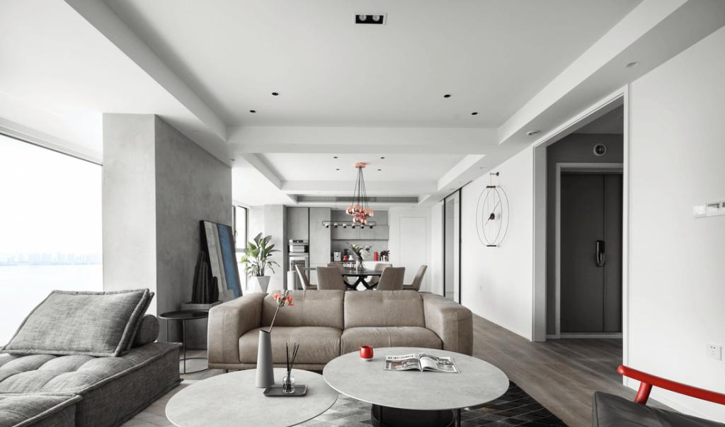 客厅室内现代阁楼公寓,沙发毡2人