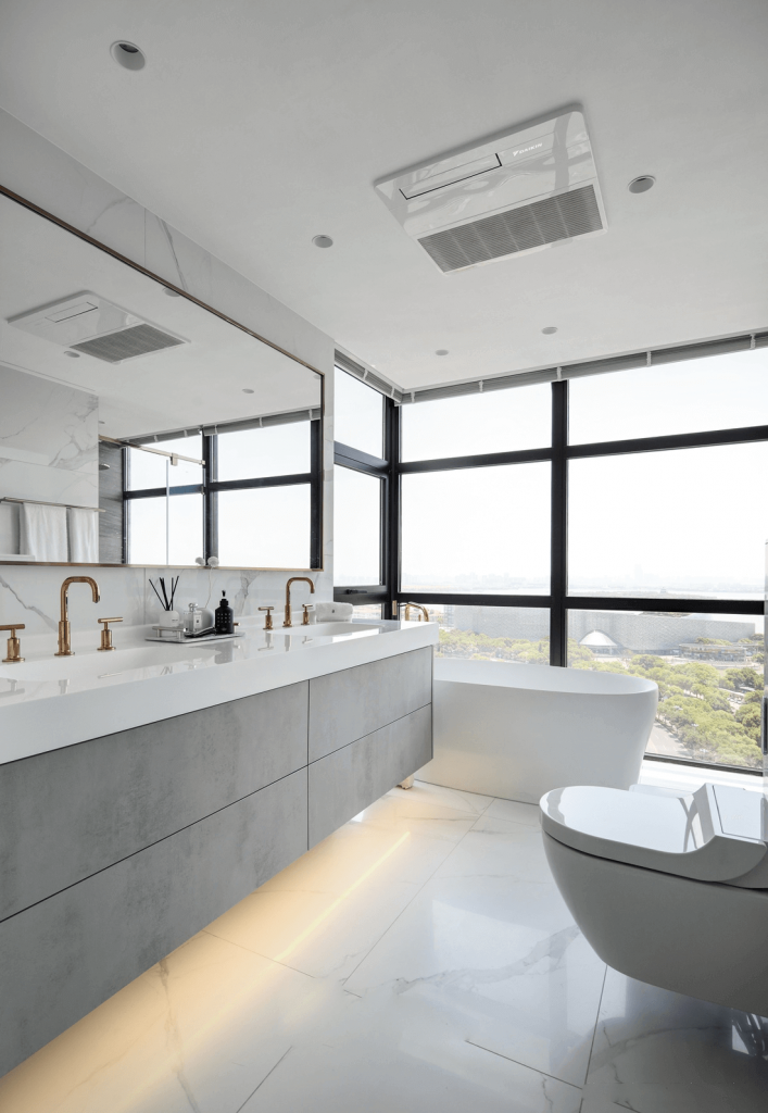 The bathroom has a bathtub with nice view angle, modern sanitary equipment - penhouse apartment
