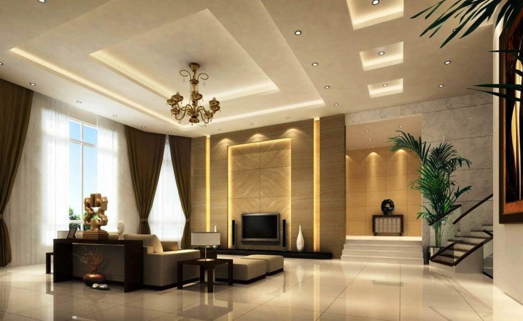 Trần thạch cao cho phòng khách hiện đại