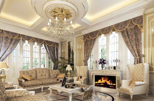 Trần thạch cao cho phòng khách phong cách cổ điển