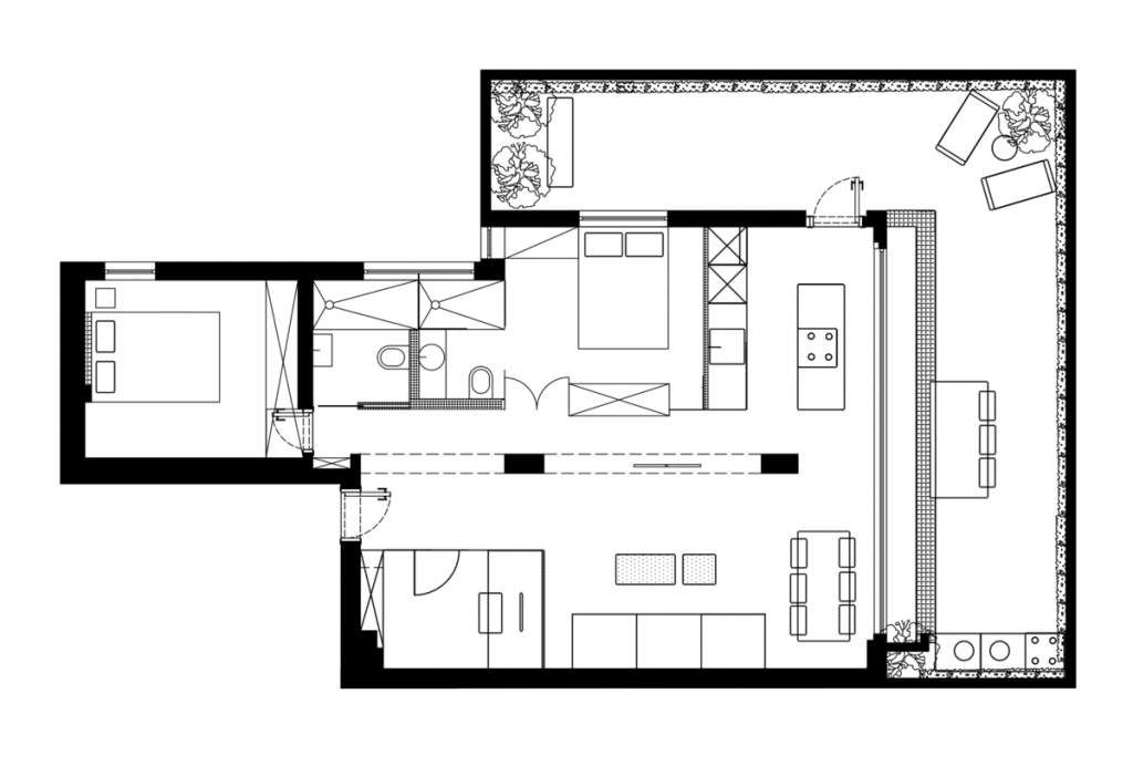 نموذج تصميم منزل مع زجاج مقسوم