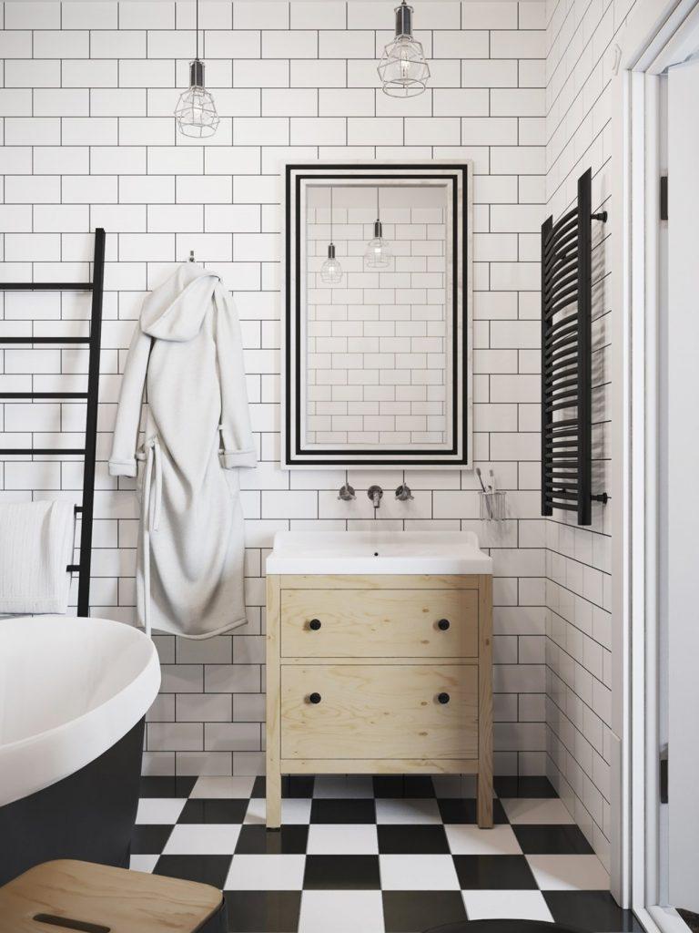 Nhà vệ sinh sử dụng gạch chống trơn trượt - căn hộ có gác lửng
