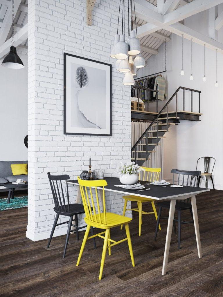 bộ bàn ăn cùng đèn trần đẹp, bức tranh treo tường đơn giản phong cách bắc âu