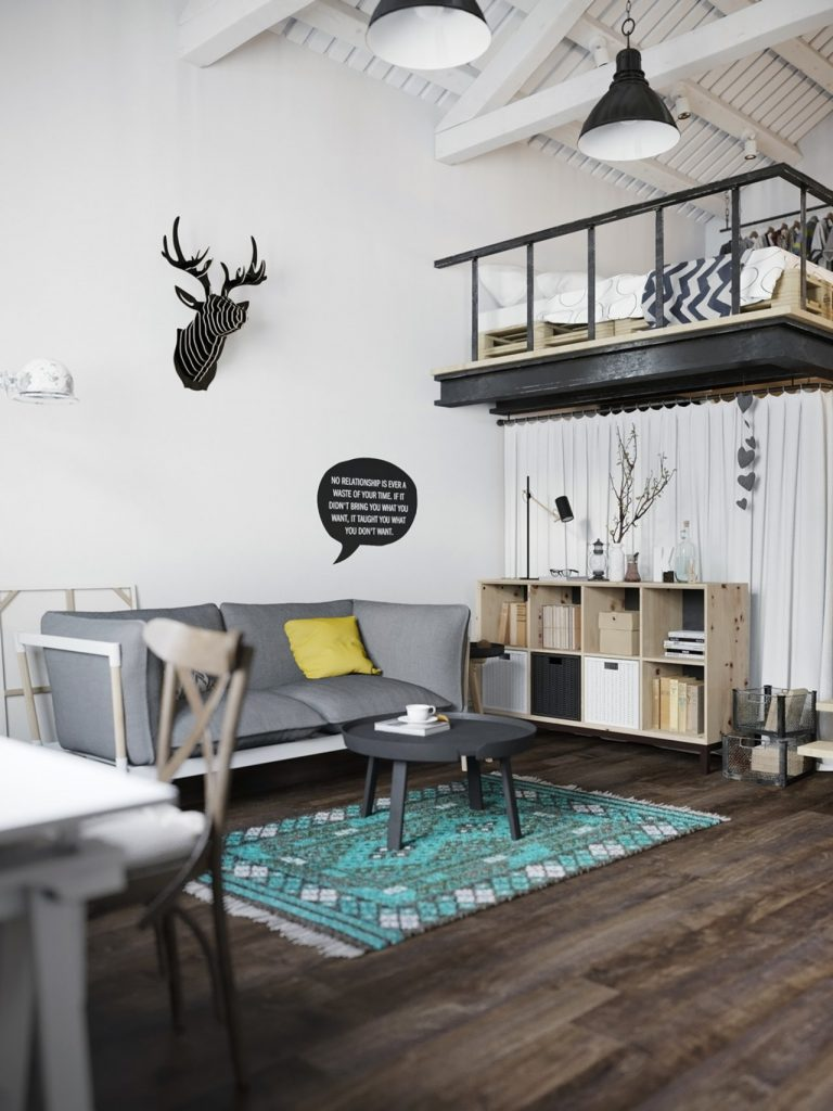 ghế sofa xám và bàn trà nhỏ đẹp cùng đồ decor treo tường phòng cách bắc âu