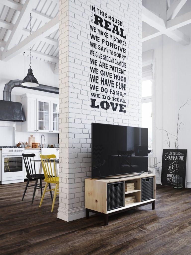 Bức tường ngăn cách không gian sinh hoạt và kệ tivi thiết kế đẹp phong cách bắc âu