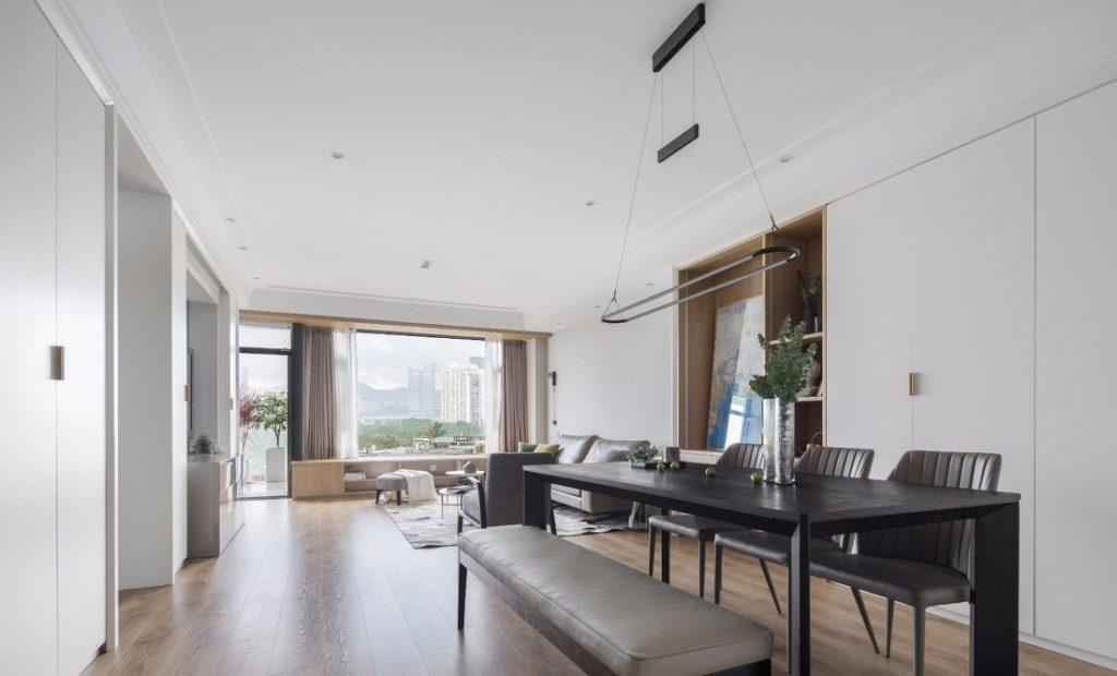 Phòng khách và bàn ăn tối màu - thiết kế nội thất chung cư 100m2