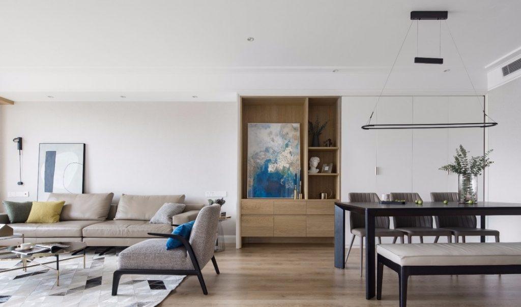 toàn cảnh không gian sinh hoạt chung của căn hộ - thiết kế nội thất chung cư 100m2