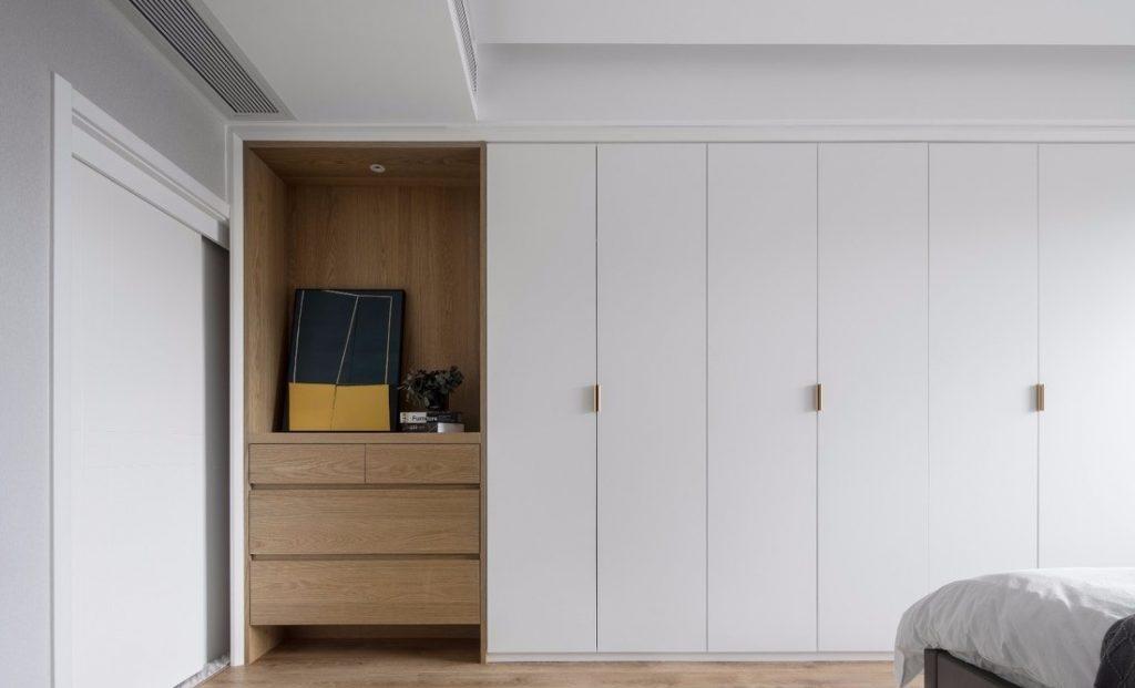 Tủ gỗ công nghiệp sơn màu trắng đẹp - thiết kế nội thất chung cư 100m2
