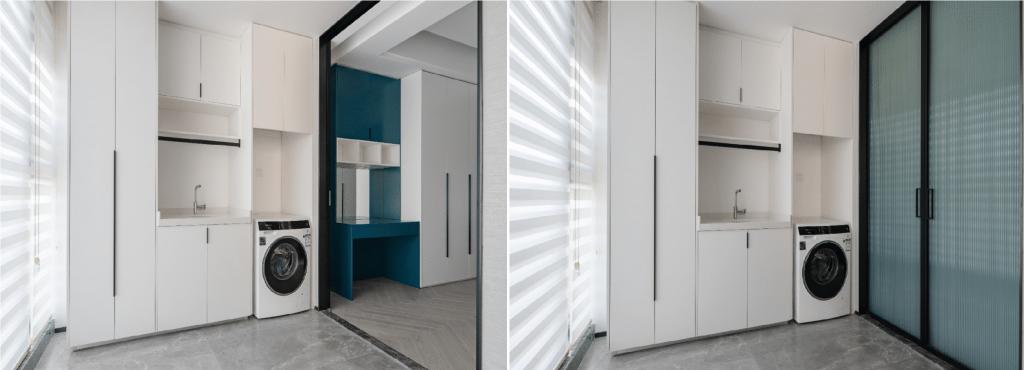 産業用木製キャビネット、洗濯機、洗面台、スライド式のガラス扉、青いメッシュカーテンの廊下-素敵なアパートのインテリア
