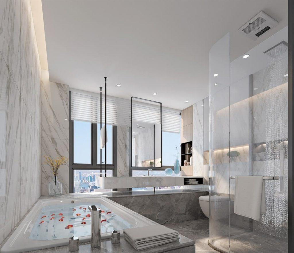 マスターベッドルーム-素敵なアパートのインテリアのバスルームの3 d画像