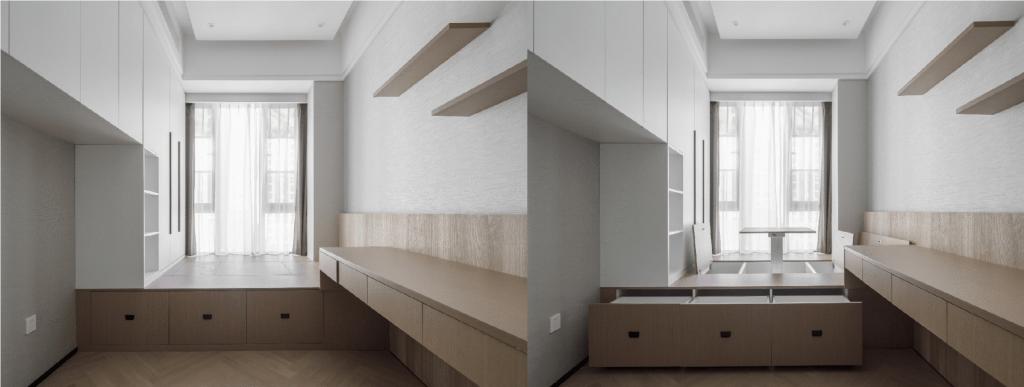 美しいデザインのスマートなアパートのインテリアを備えた多機能ルームは、大きな収納スペースをもたらします